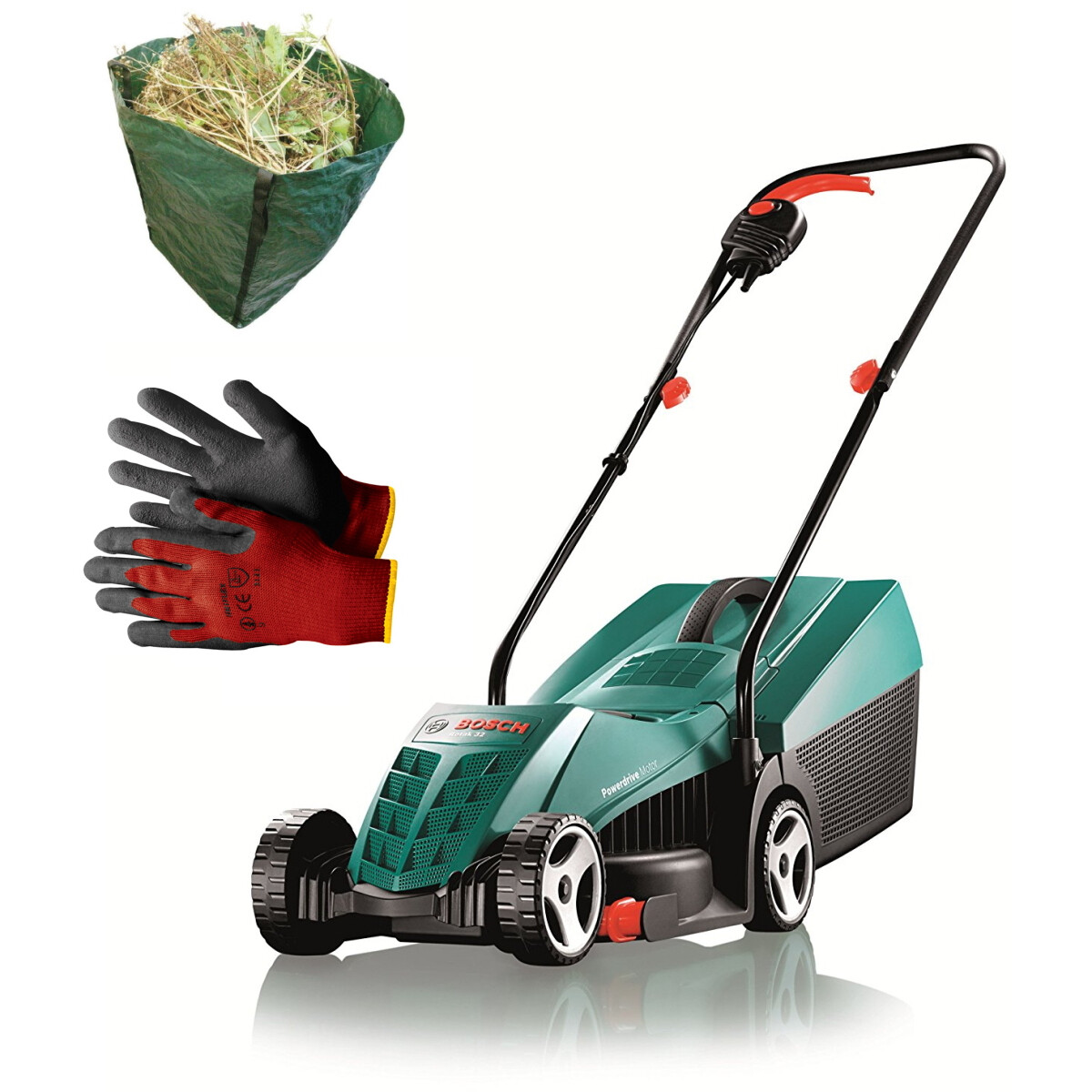 Bosch Rotak 32 R with Gloves and Garden Sack 240V 1100W 32cm Lawn Mower