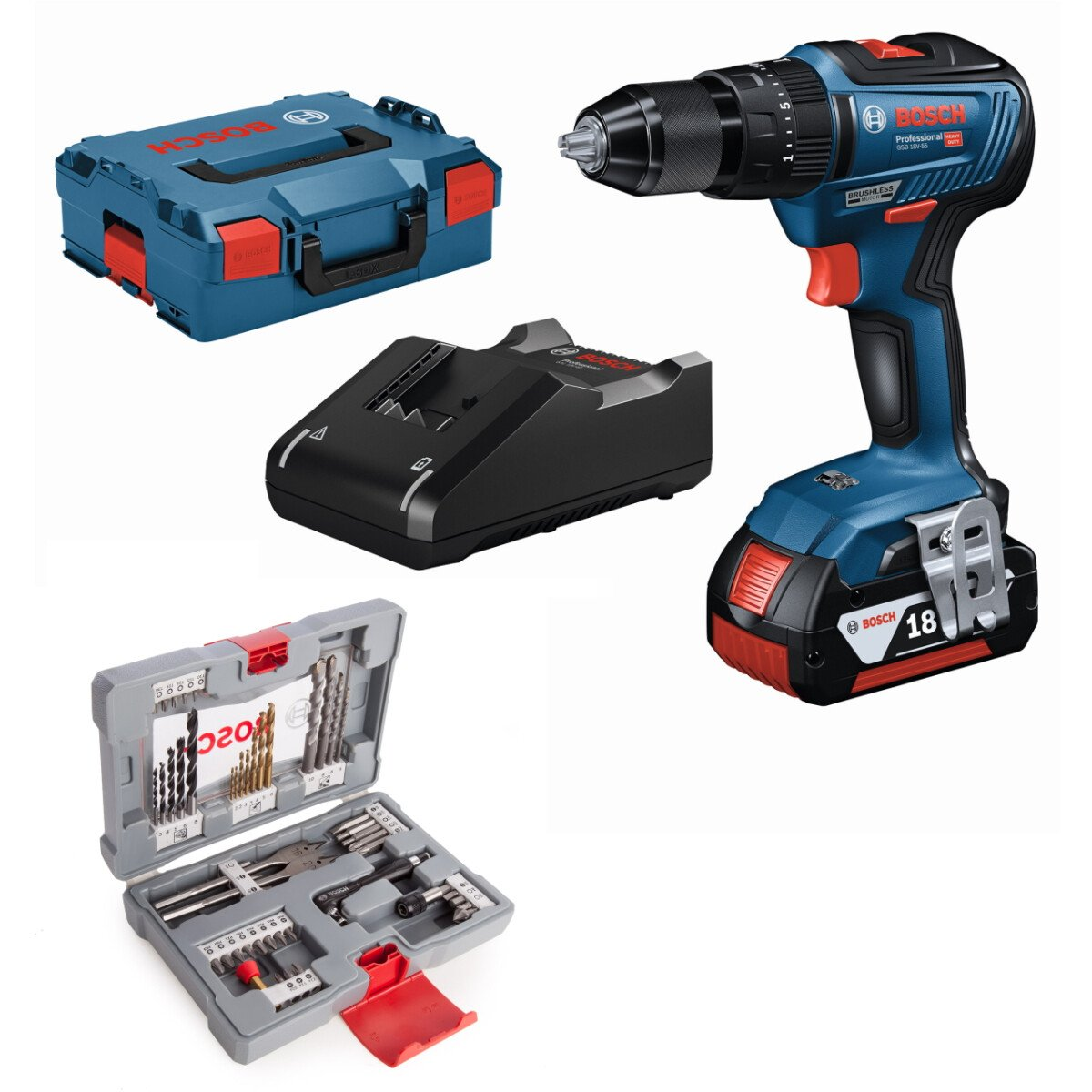 Bosch GSB 18V-55 18V with 49pc Accessory set Brushless 2 Speed Combi Drill with Metal Chuck 2x2.0Ah Batteries in L-Boxx Connection Ready
