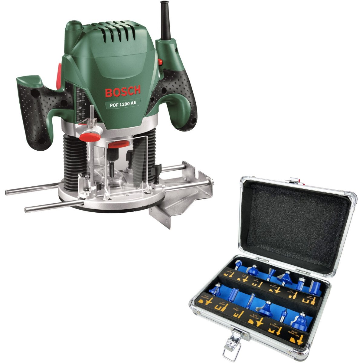 """Bosch POF 1200 AE with 12pc 1/4in Router Bit Set 1200W 1/4"""" & 8mm Plunge Router"""