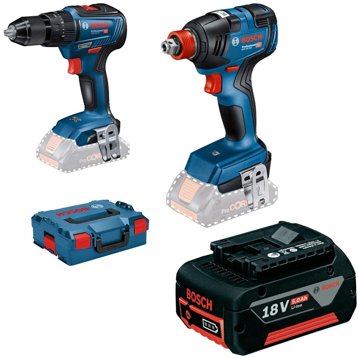 Bosch GSB 18 V - 55 + GDX 18 V-200 18V Brushless Twin Pack in L-Boxx with 18v 5.0Ah Battery (No Charger)