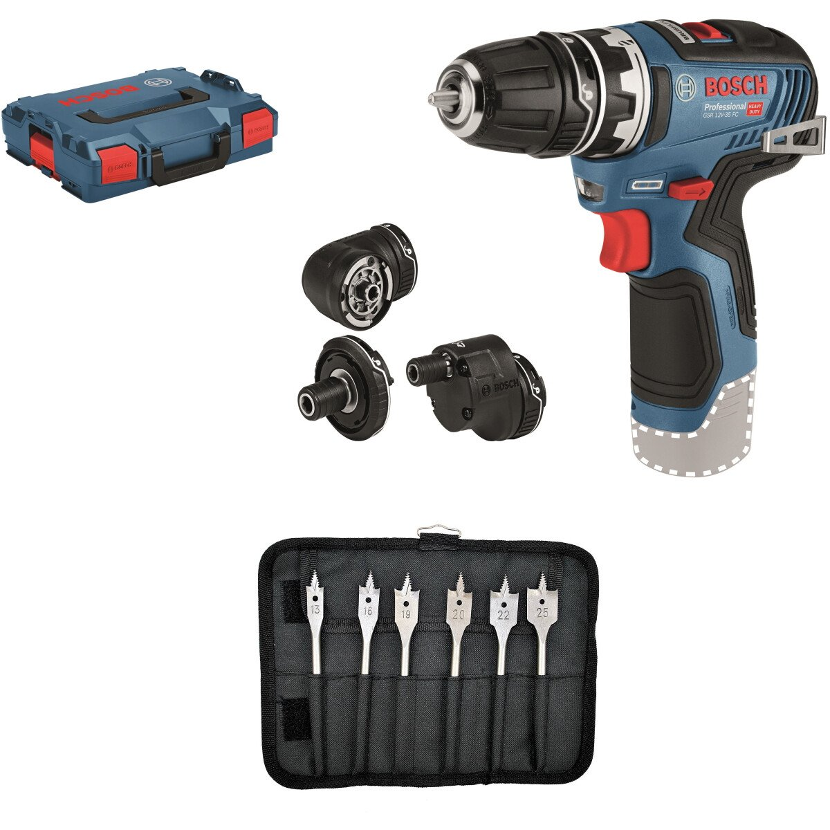 Bosch GSR 12V-35 FC with 6pc Drill Bit Set Body Only 12V Brushless Flexiclick Drill/Driver with Accessory Set In L-BOXX