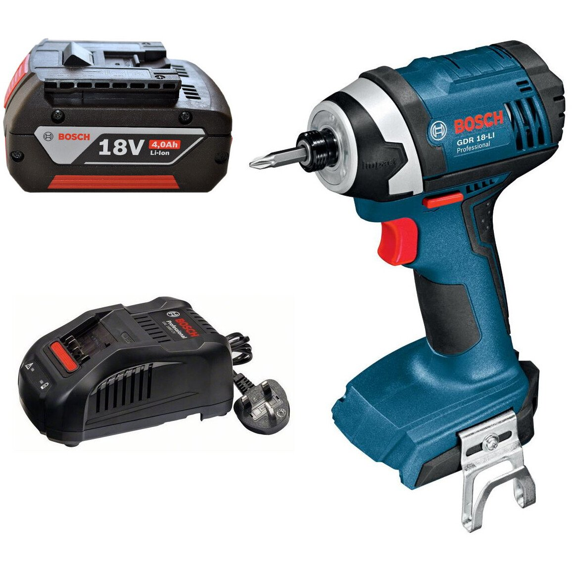 Bosch GDR 18 LIN 18V Light Series Impact Wrench with 4.0Ah Coolpack Battery and Quick Charger in Carton