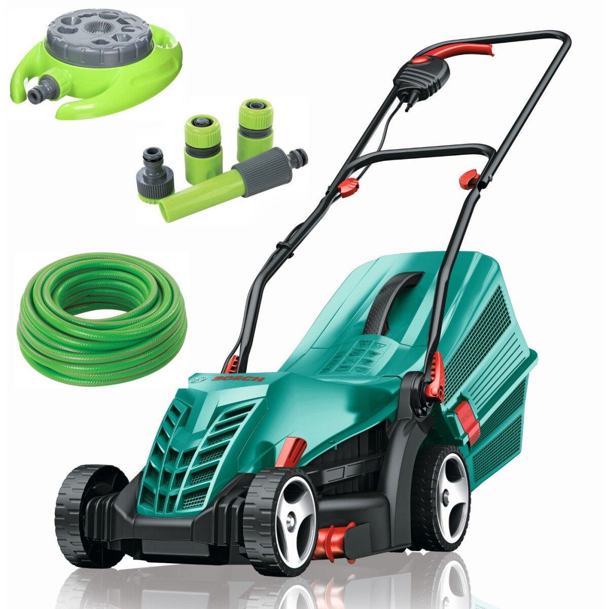Bosch Rotak 34 R Kit 1300W 34cm Lawnmower with 15m Hose, 9 Pattern Sprinkler & 4pc Hose Connector