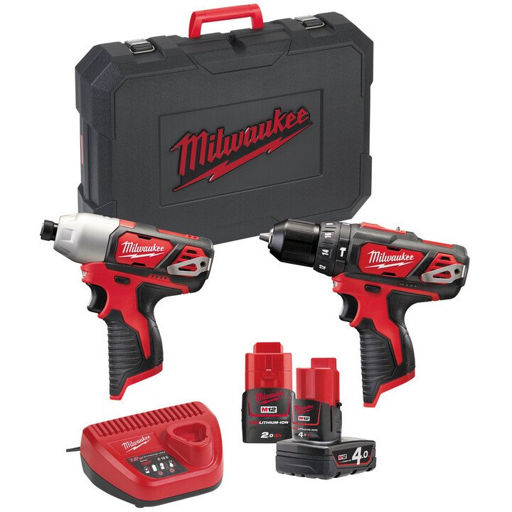 Milwaukee M12BPP2B-421C 12V Twinkit with 1x 4.0Ah and 1x 2.0Ah Battery in Carry Case