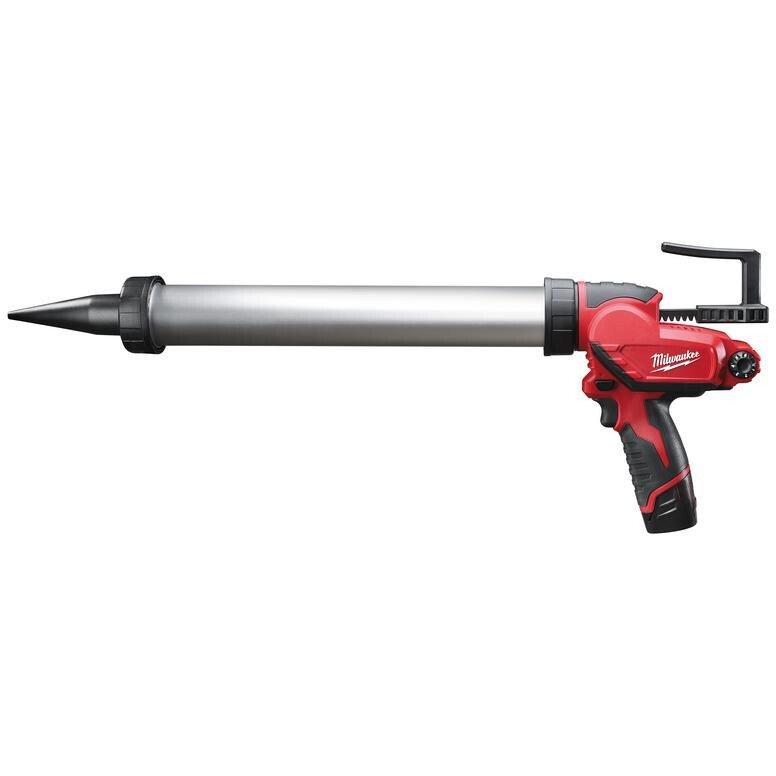 Milwaukee M12 PCG/600A-201B M12 Caulking Gun 600ml Aluminium Tube (1 x 2ah Li-ion battery, charger, bag)