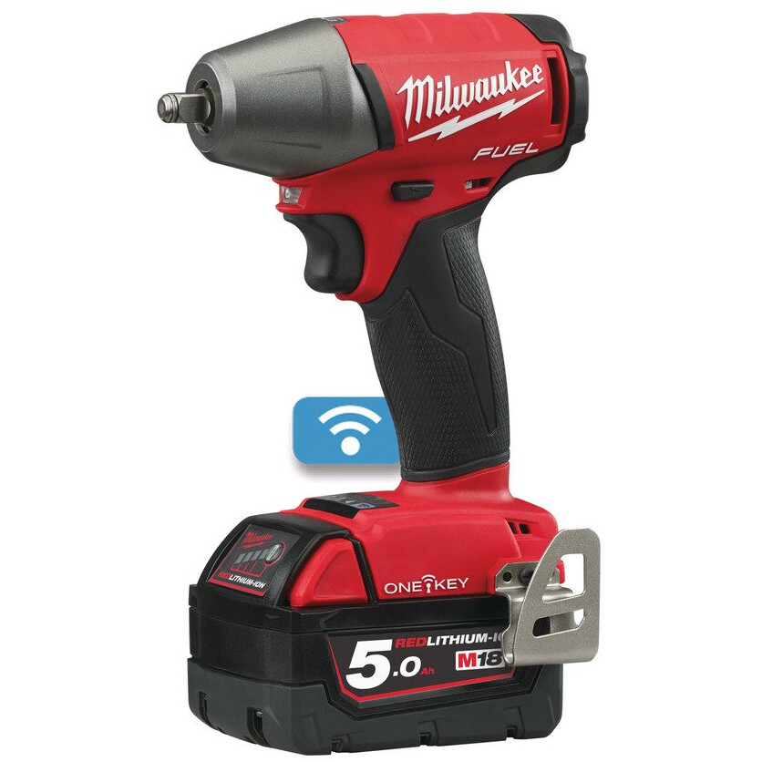"""Milwaukee M18ONEIWF38-502X M18 ONE-KEY Fuel Impact Wrench Friction Ring (3/8"""") ( 2 X 5.0Ah Redlithium-Ion Batteries, Fast Charger and Dynacase)"""