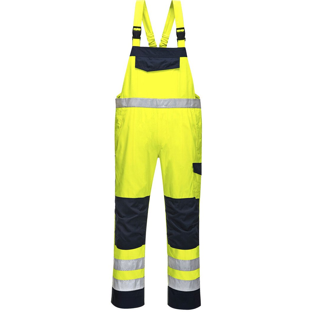 Portwest MV27 Regular Hi-Vis Modaflame™ Bib and Brace Flame Resistant - Yellow/Navy