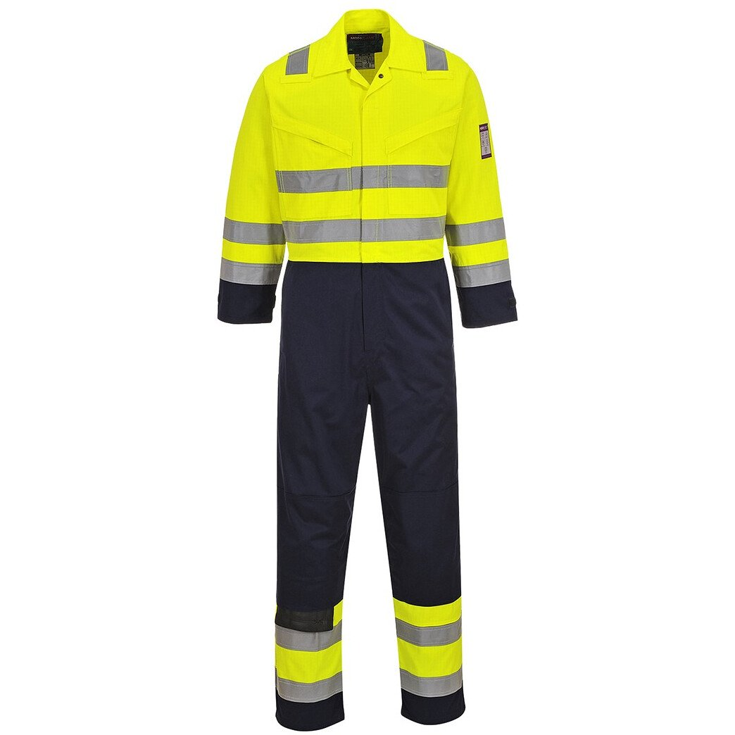 Portwest MV28 TALL Hi-Vis Modaflame™ Coverall Flame Resistant - Yellow/Navy
