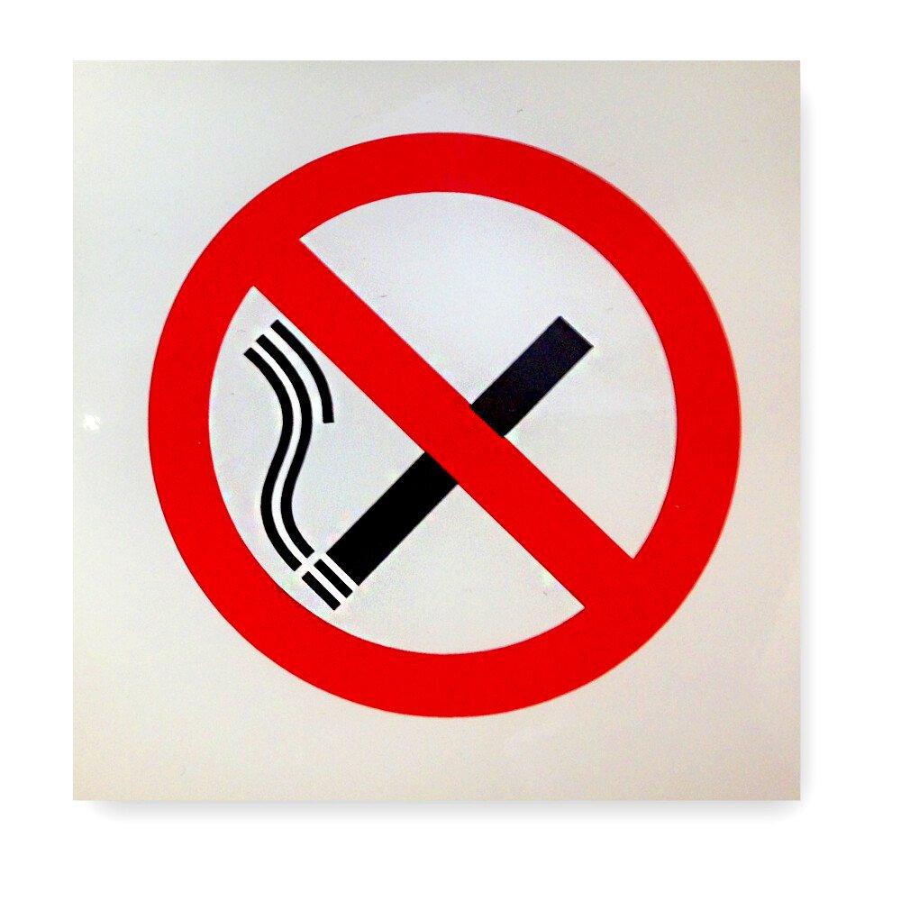 "JSP HBJ992-300-000 Self Adhesive Plastic ""No Smoking Symbol"" Safety Sign 90x90mm"