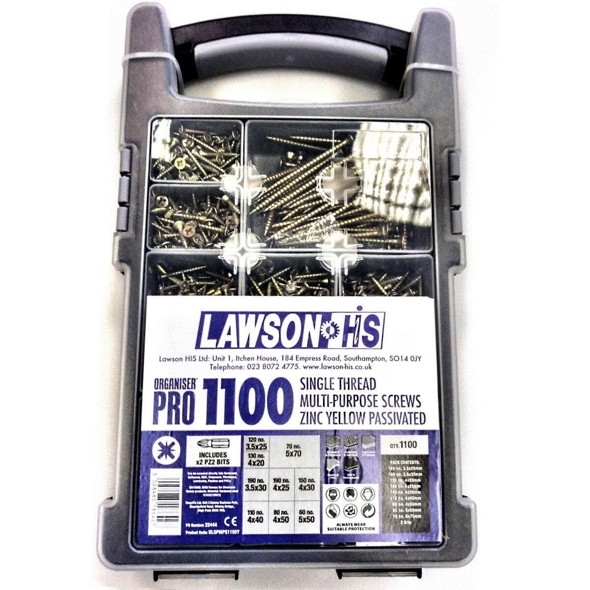 Lawson-HIS OLOPMPS1100Y 1100 Piece Pro Multi Purpose Screw Assortment