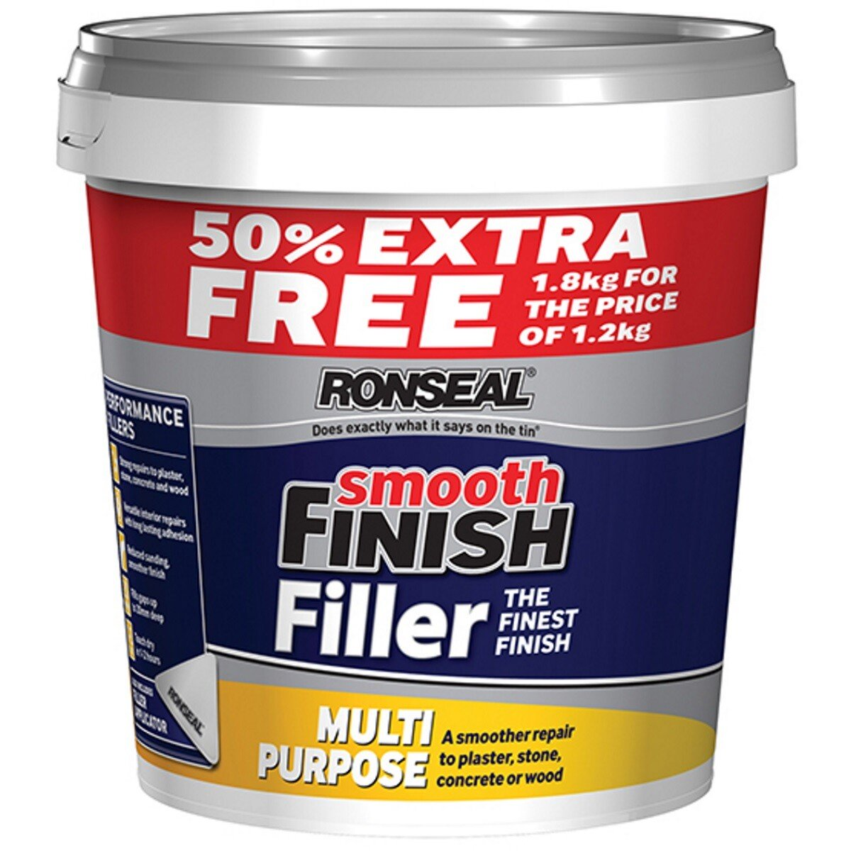 Ronseal 36546 Smooth Finish Multi Purpose Interior Wall Filler Ready Mixed 1.2kg +50% RSLMPRMF12VP