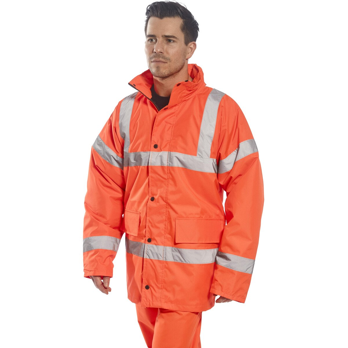 "Portwest RT30 Hi-Vis Orange Traffic Jacket - XXL (50""-52"" Chest) Clearance Size Only"