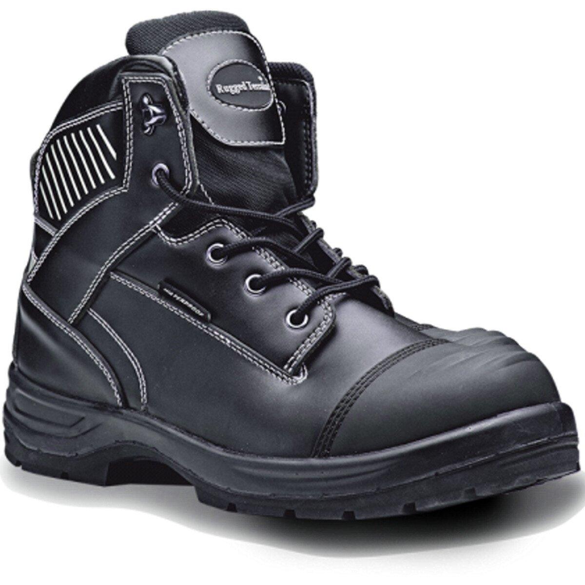 Rugged Terrain RT820B Black Waterproof Derby Leather Boot with Scuff Cap S3 WRU HRO SRC
