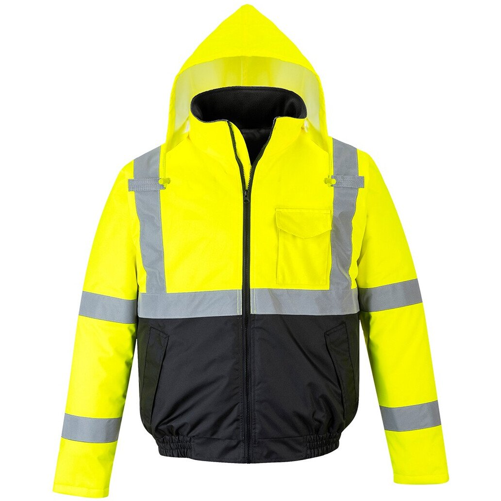 Portwest S363 Hi-Vis Two-Tone Bomber Jacket High Visibility - Yellow/Black