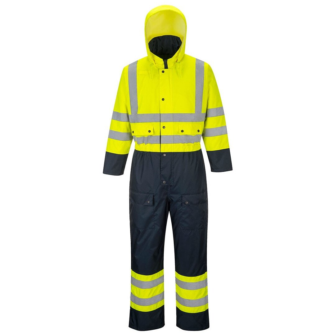 Portwest S485 Hi-Vis Contrast Coverall High Visibility - Lined