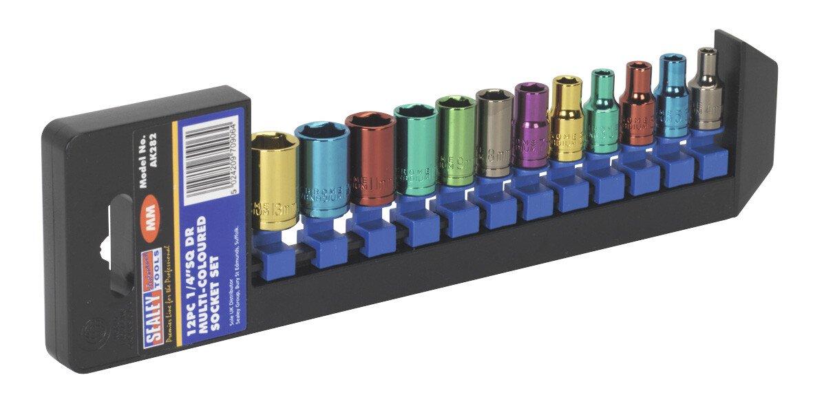 """Sealey AK282 Multi-Coloured Socket Set 12 Piece 1/4"""" Drive Metric"""