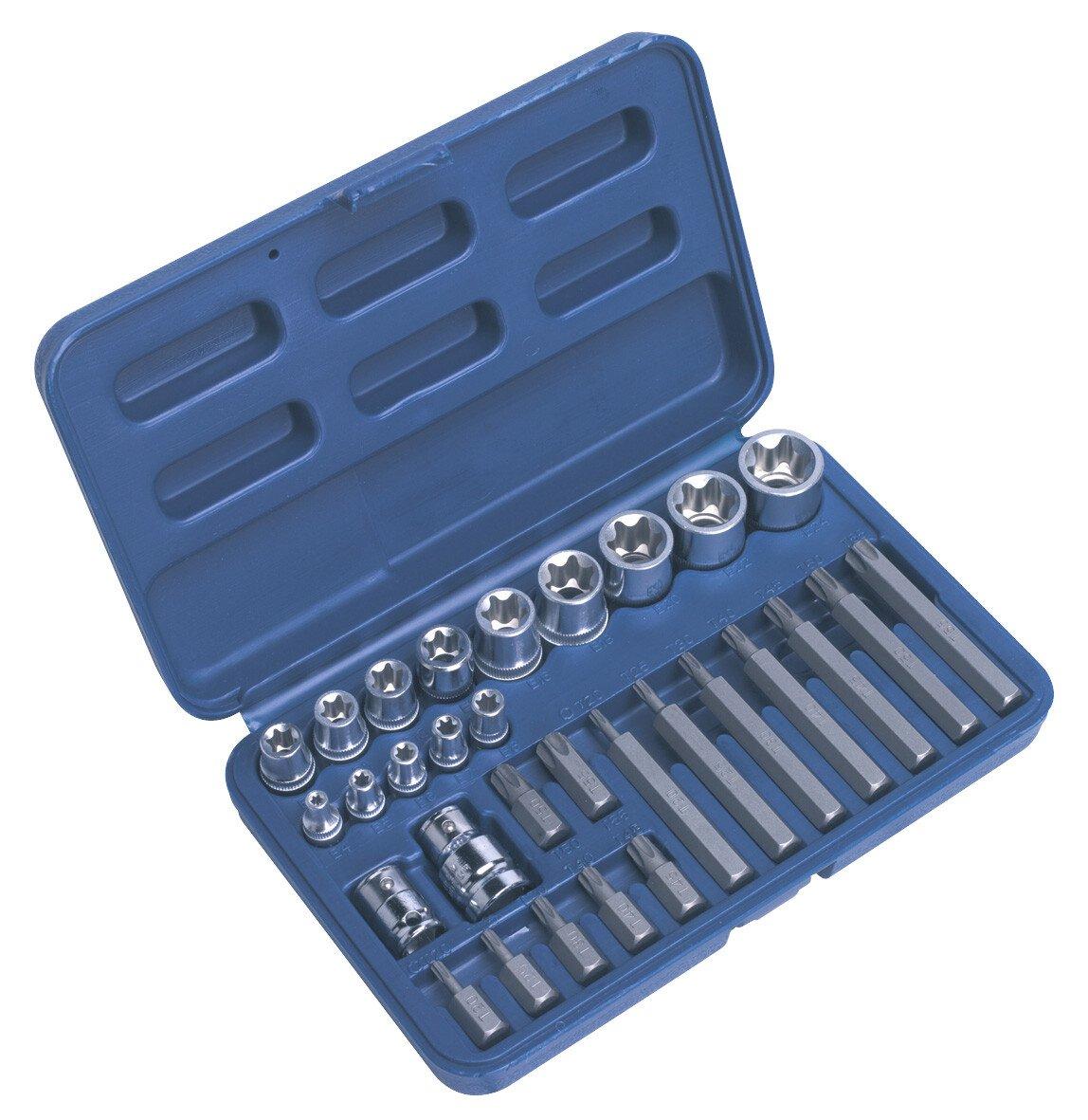 """Sealey AK619 TRX-Star (Torx type) Socket & Bit Set 30 Piece 1/4"""", 3/8"""" & 1/2"""" Drive"""