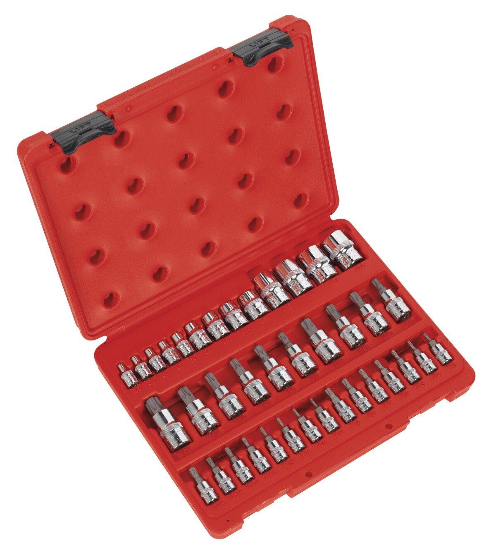 """Sealey AK6197 TRX-Star (Torx type) Socket & Bit Set 38 Piece 1/4"""", 3/8"""" & 1/2"""" Drive"""