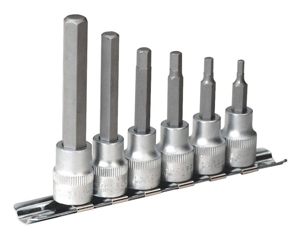 """Sealey AK6209 Hex Socket Bit Set with Rail 6 Piece 3/8"""" Drive Metric"""
