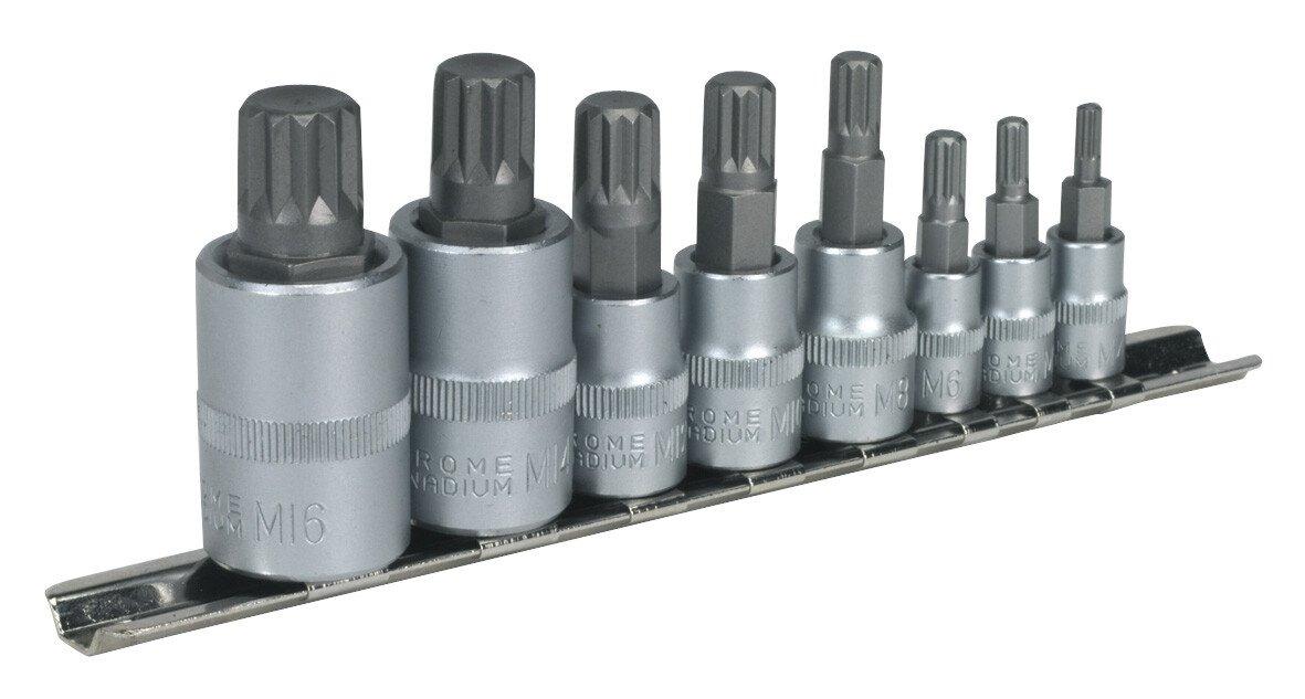 """Sealey AK6214 Spline Socket Bit Set 8 Piece 1/4"""", 3/8"""" & 1/2"""" Drive"""