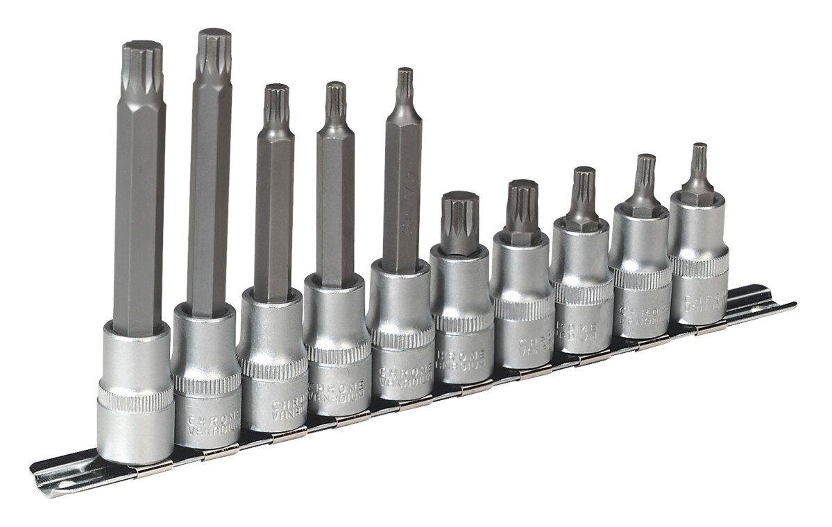 """Sealey AK6215 Spline Socket Bit Set 10 Piece 1/2"""" Drive"""