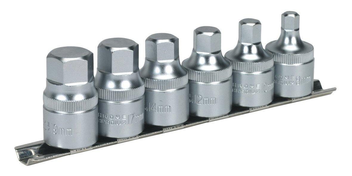 """Sealey AK6561 Hex Socket Bit Set with Rail 6 Piece Stubby 1/2"""" Drive Metric"""