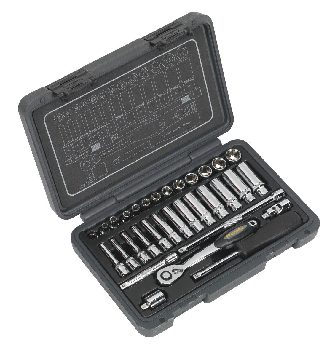 "Sealey AK7950 Socket Set 32 Piece 1/4"" Drive 6pt WallDrive Metric"