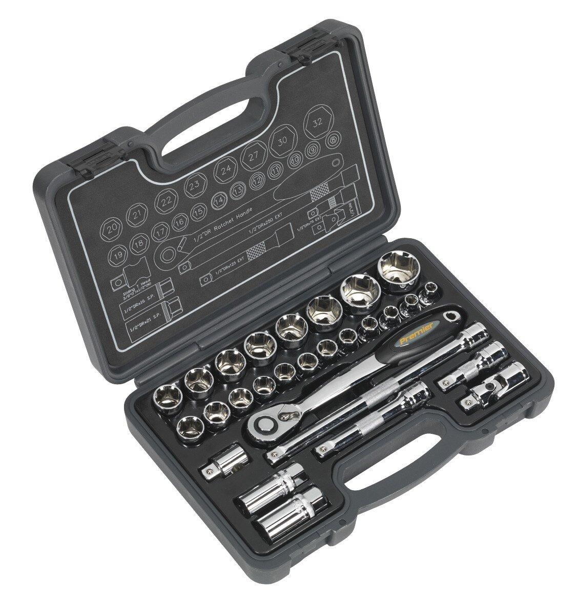 """Sealey AK7953 Socket Set 28 Piece 1/2"""" Drive 6pt WallDrive Metric"""