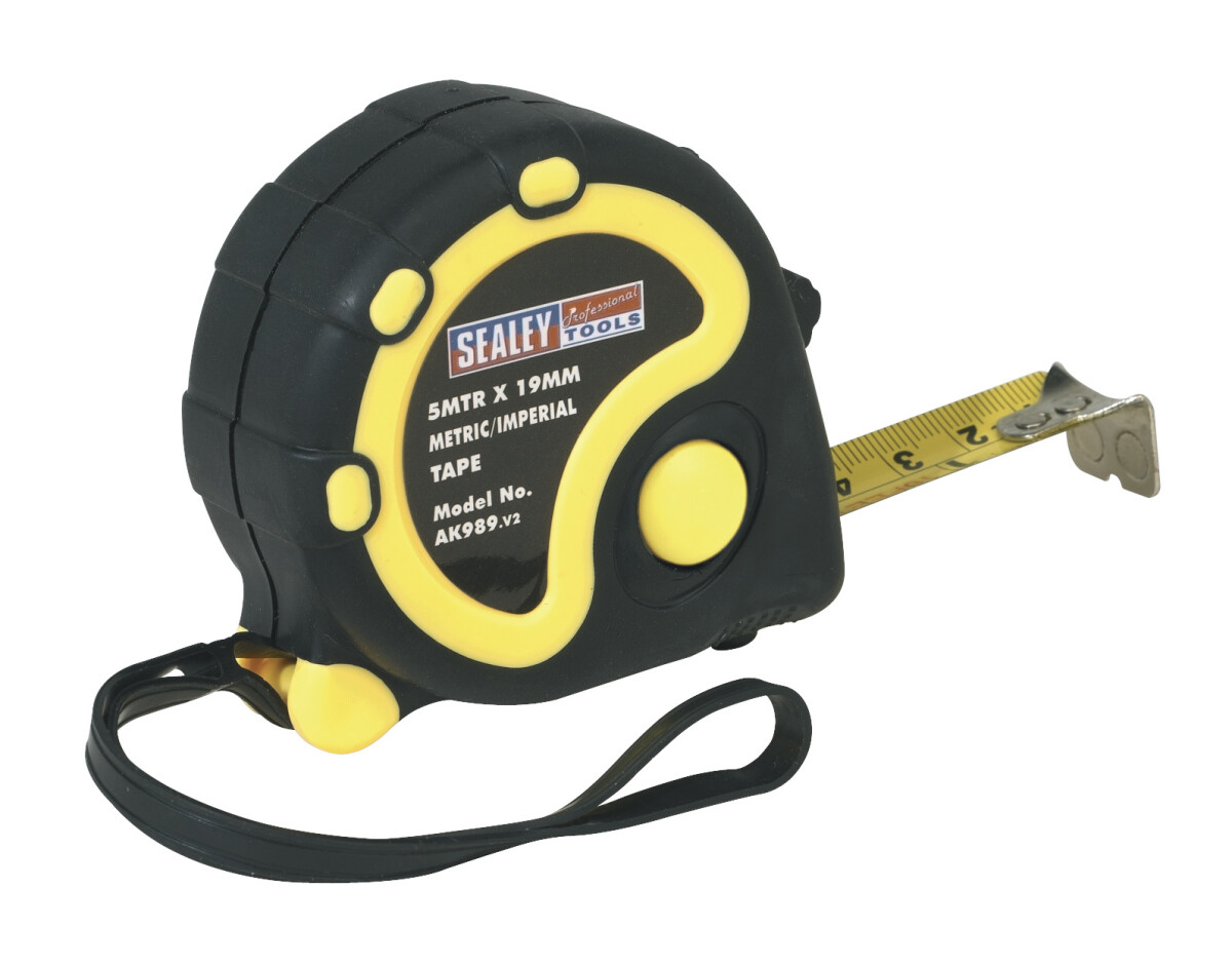 Sealey AK989 Rubber Measuring Tape 5mtr(16ft) x 19mm Metric/Imperial