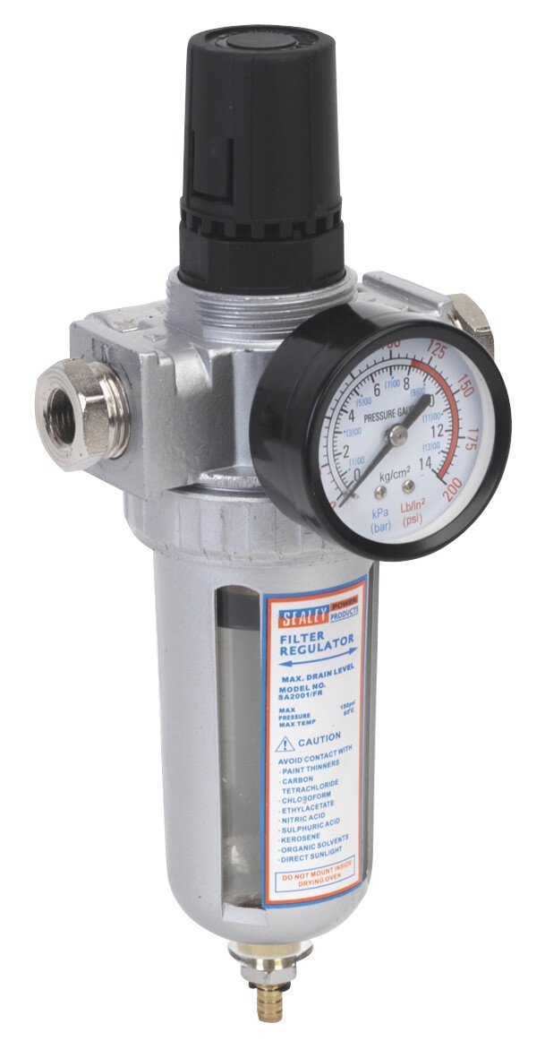 Sealey SA2001/FR Air Filter/Regulator with Gauge Heavy-Duty
