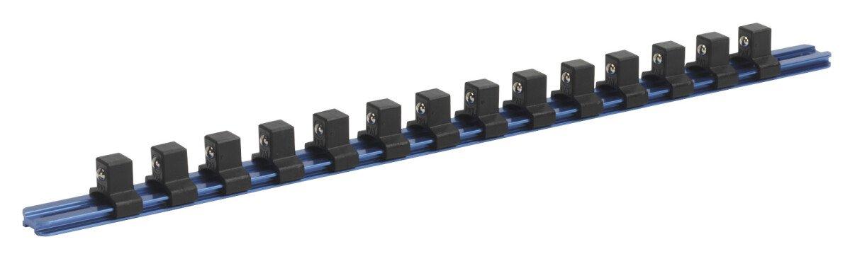 """Sealey SR1214 Socket Retaining Rail with 14 Clips Aluminium 1/2"""" Drive"""