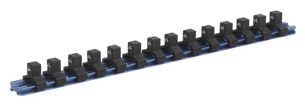 """Sealey SR3814 Socket Retaining Rail with 14 Clips Aluminium 3/8"""" Drive"""