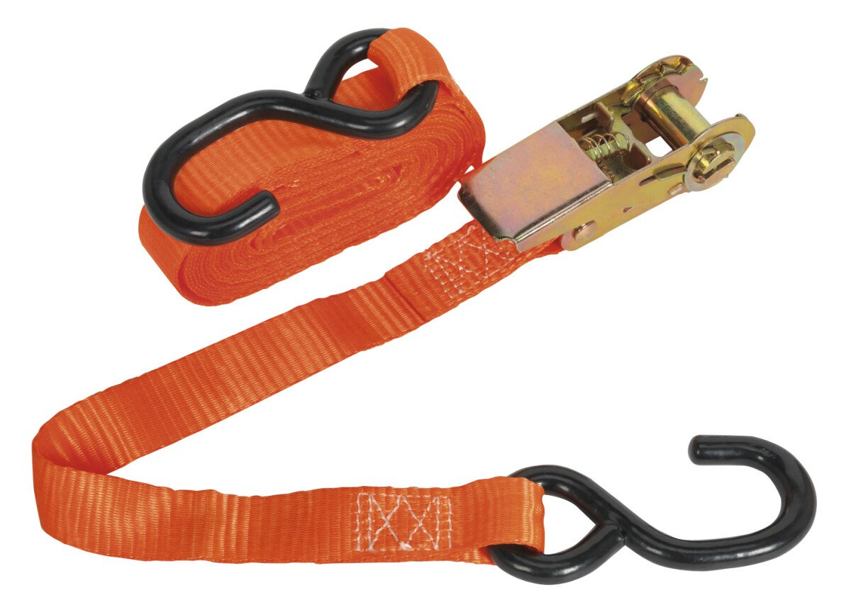 Sealey TD0845S Ratchet Tie Down 25mm x 4.5mtr Polyester Webbing S Hook 800kg Load Test