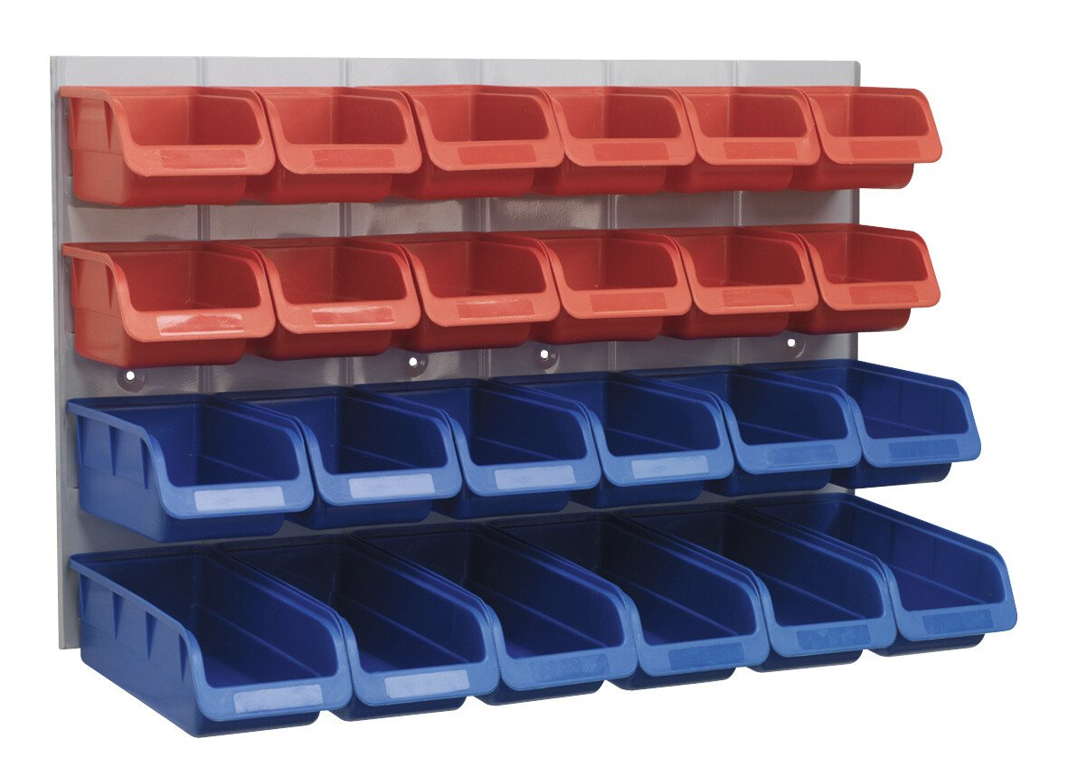 Sealey TPS132 Bin & Panel Combination 24 Bins - Red/Blue
