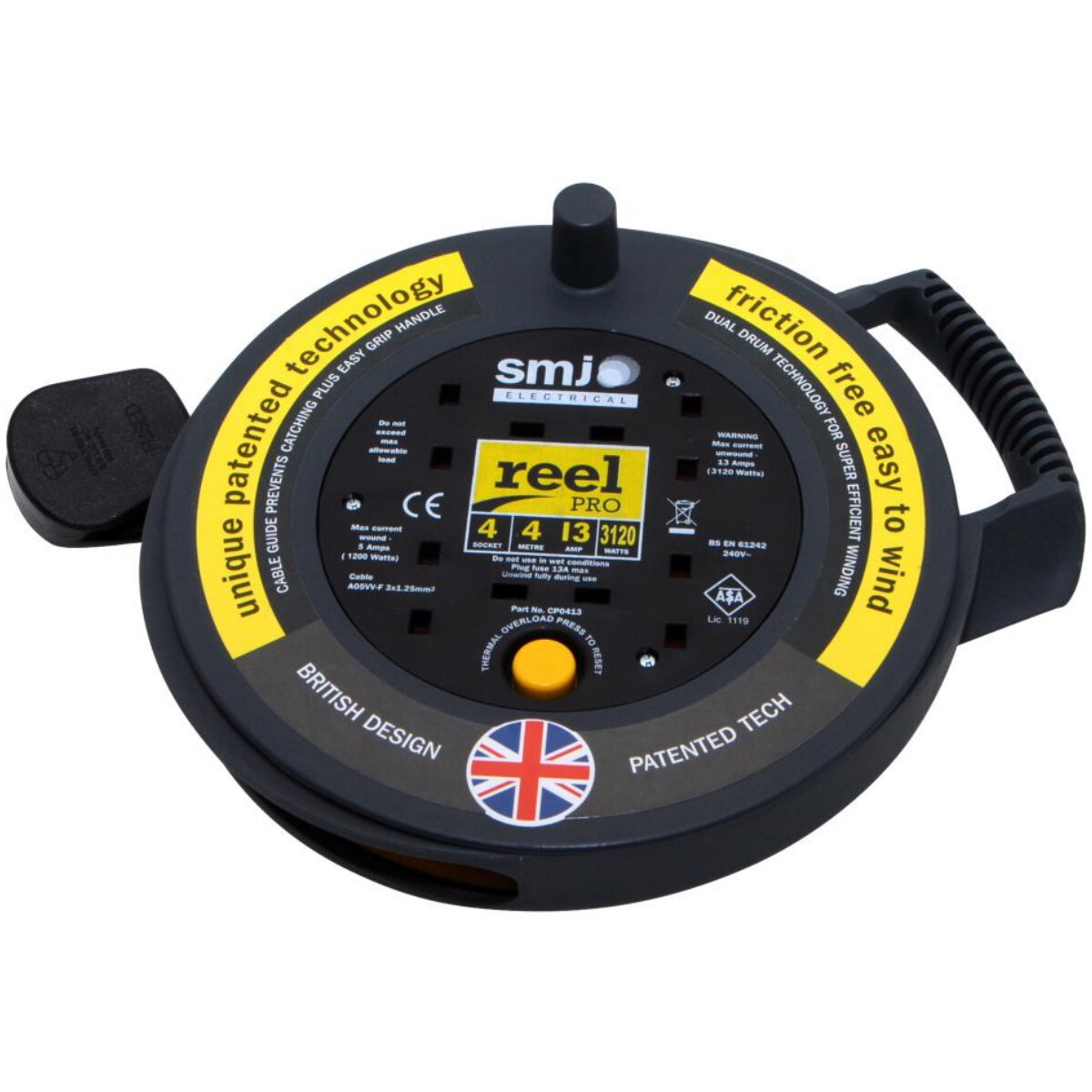 SMJ CP0413 4 Metre 4 Way Extension Reel with Thermal Cut Out 13A