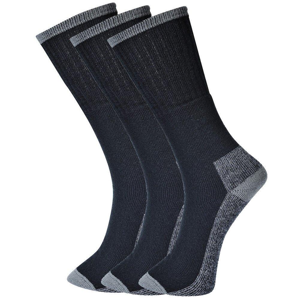 Portwest SK33-Black Size 10 - Size 13 (EU44 - EU48) Workwear Socks Triple Pack