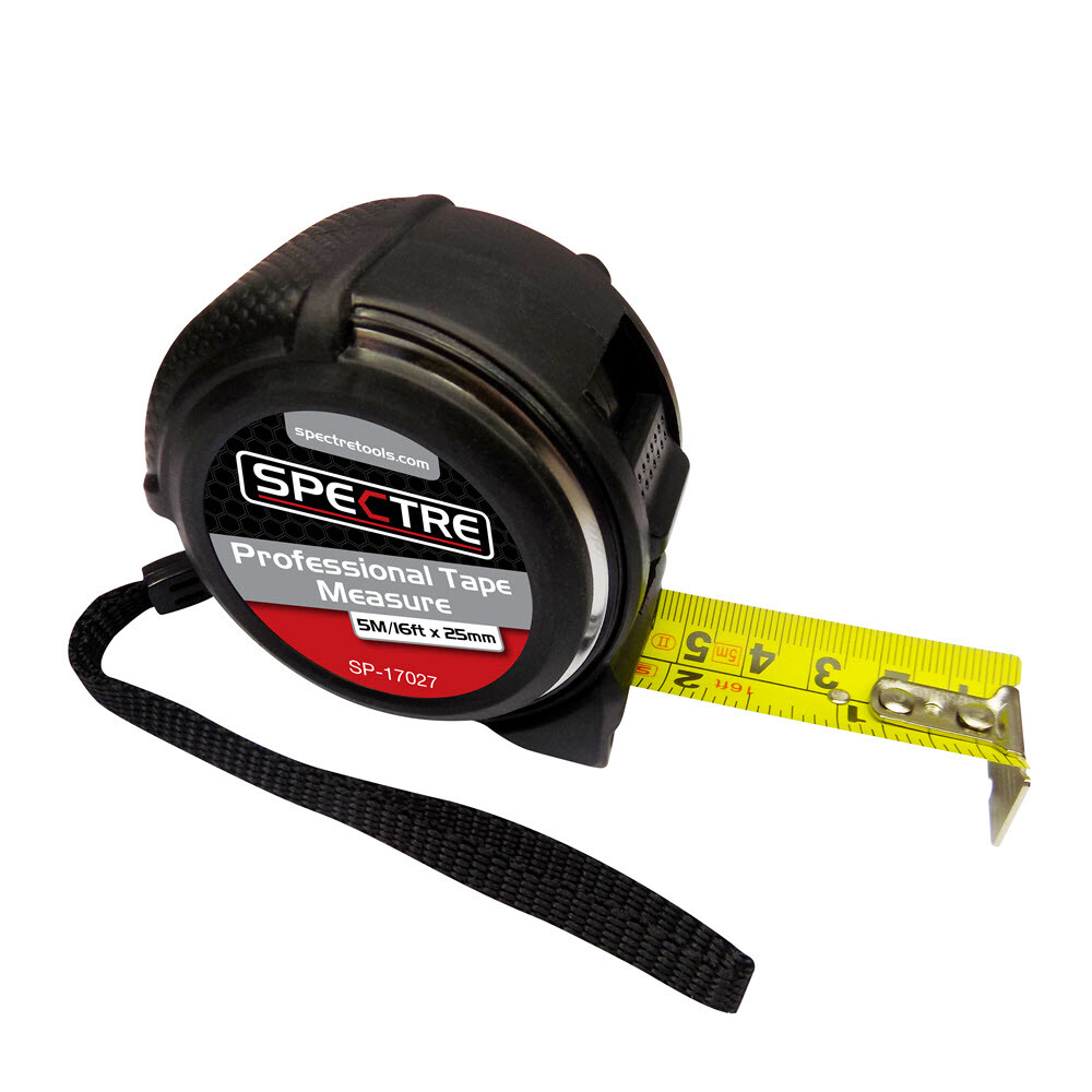 Spectre SP-17027 Professional 5M/16ft x 25mm Dual-Marked Steel Tape Measure