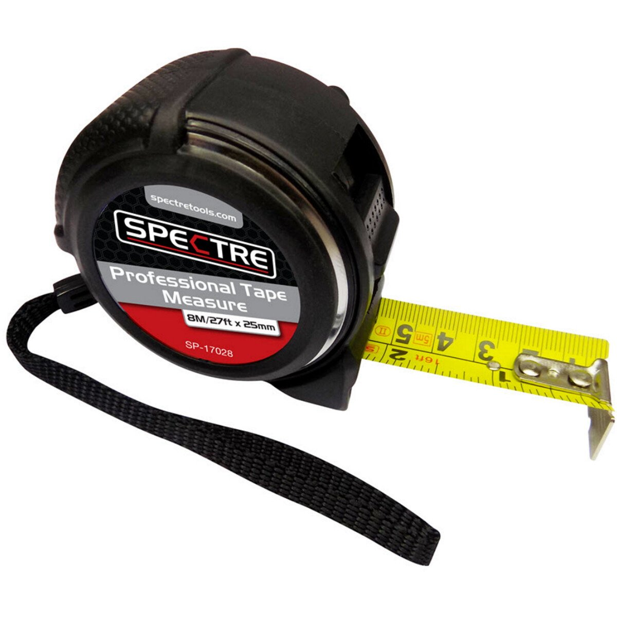 Spectre SP-17028 Professional Plus 8m/26ft x 25mm Dual-Marked Steel Tape Measure