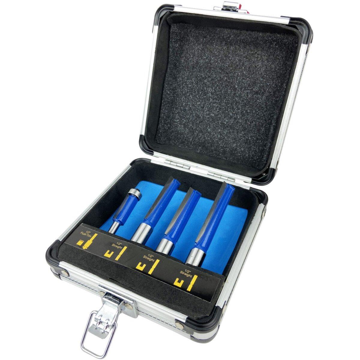 Spectre SP-17232 1/2in Worktop Router Bit Set 4 Piece in Aluminium Case