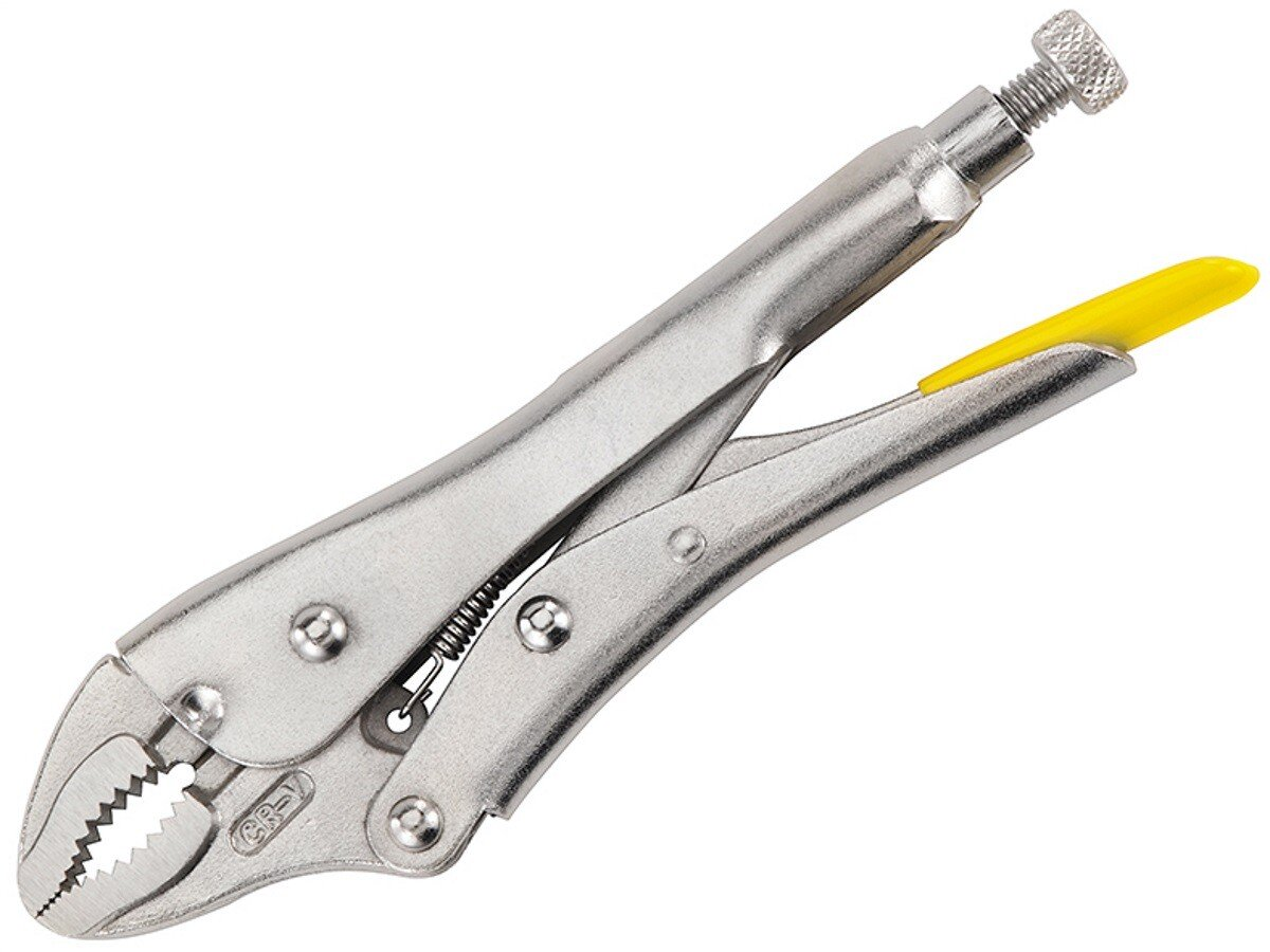 "Stanley 0-84-808 Locking Pliers 185mm (7"") Curved Jaw STA084808"