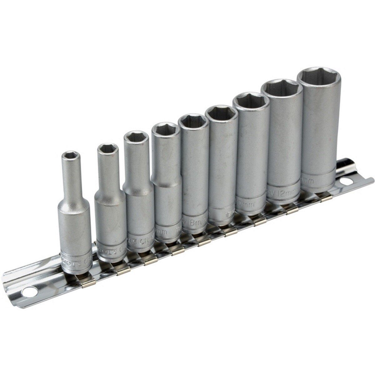 "Teng Tools M1407 Deep Socket Metric Clip Rail Set 10 Piece 1/4"" Drive TENM1407"