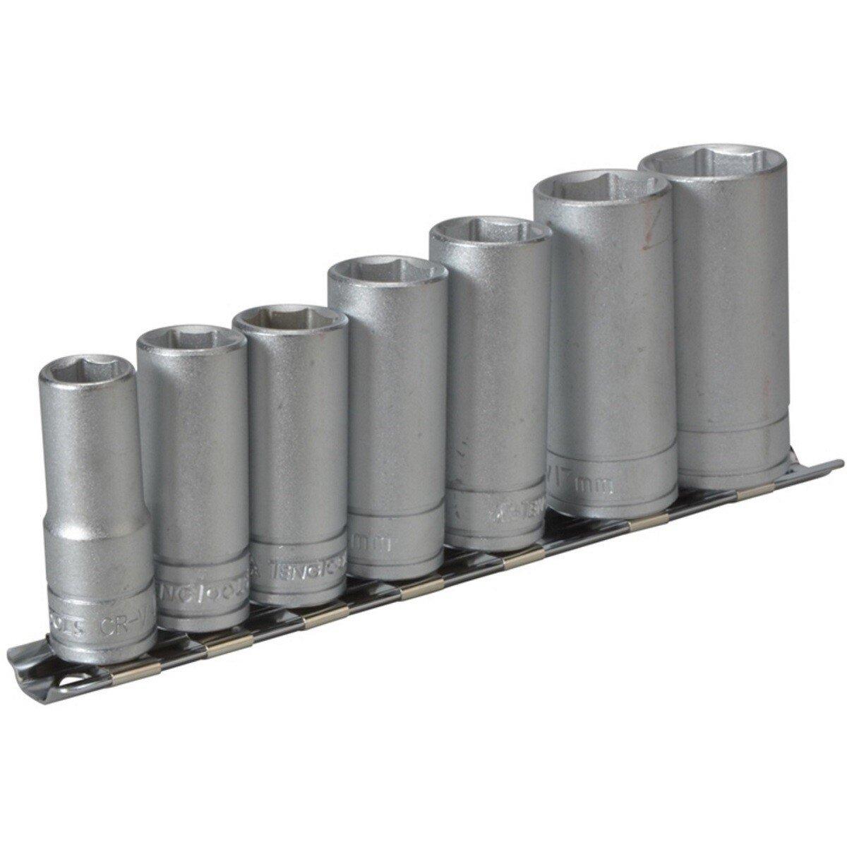 "Teng Tools M3807 7 Piece Clip Rail Socket Set Metric 3/8"" Drive TENM3807"