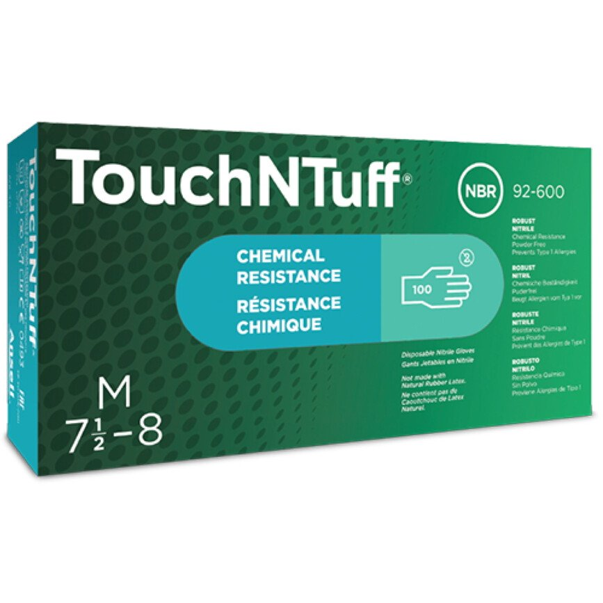 Ansell-Edmont 92-600 Ansell Touch N Tuff Gloves Powder Free Nitrile Green (Box of 100)