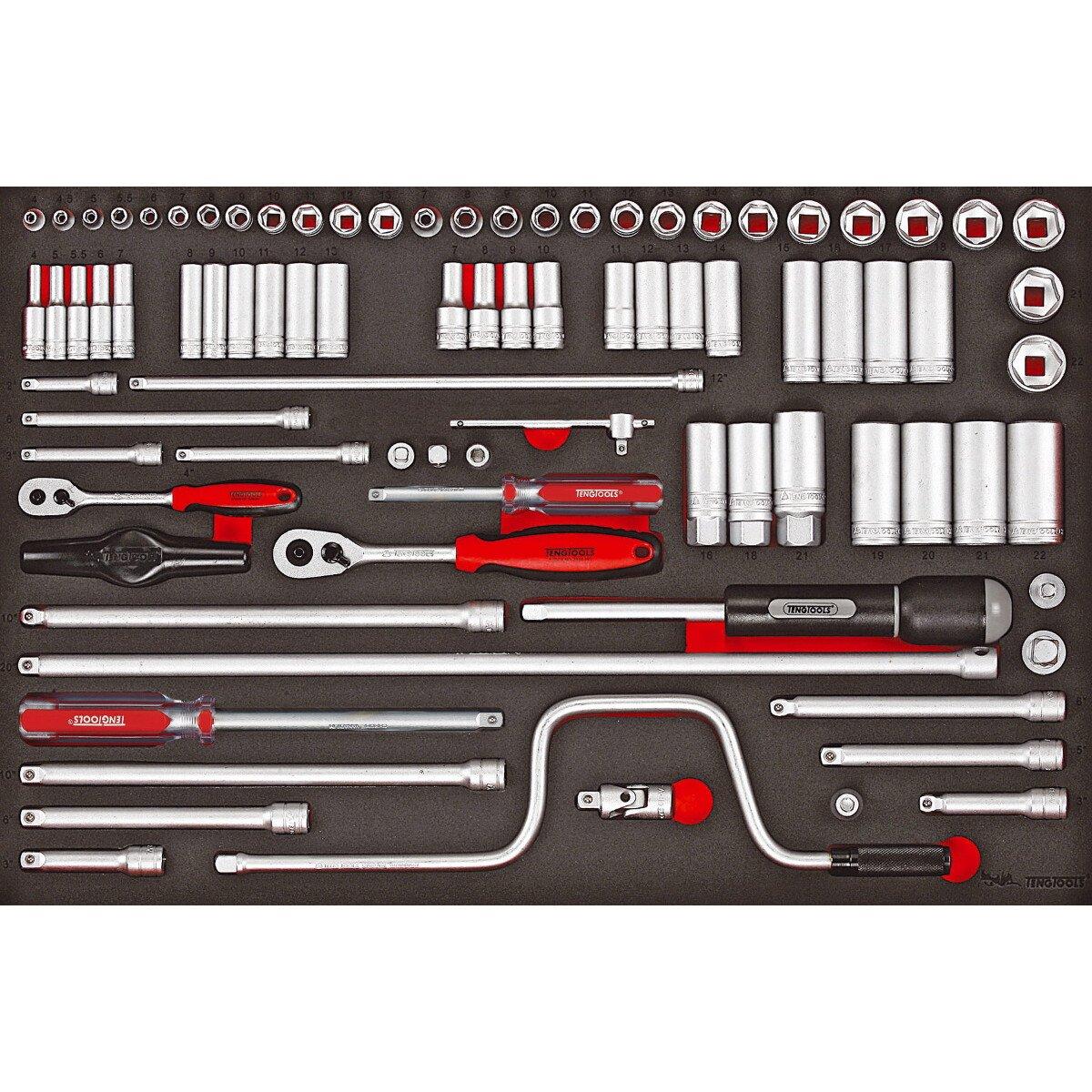 """Teng Tools TTESK86 86 Piece 1/4"""" & 3/8"""" Drive EVA Socket Set"""