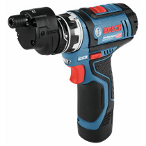 Bosch GSR 12V-15 FC 12V Flexiclick Drill/Driver with Drill Chuck Adapter and 2x 2.0Ah Batteries in L-Boxx