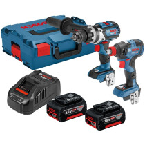 Bosch GSB 18 V-85 C + GDX 18 V-200 C 18V Brushless Robust Combi with Impact Wrench 2x5.0ah in L-Boxx Connected