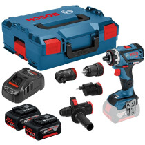 Bosch GSR 18V-60 FCC Set 18v Flexiclick Drill Driver with Chuck + Right Angle HX + Excenter + Hammer In L-Boxx (2x5.0Ah)