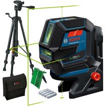 Bosch GCL 2-50 G + RM 10 + BT 150 Green Beam Combi Laser 50m with Tripod, Target plate and Pouch