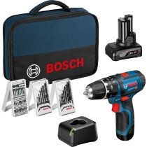 Bosch GSB 12V-15 12v 2 Speed Combi Drill with 1 x 2.0Ah, 1 x 4.0Ah Batteries with 3 x Accessory Sets in Tool Bag