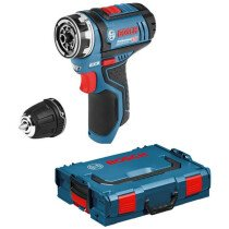 Bosch GSR 12V-15 FCN + GFA 12-B Body Only 12V Flexiclick Drill/Driver with Drill Chuck Adapter in L-Boxx